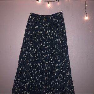 Dresses & Skirts - Calf length navy blue skirt with white rose design
